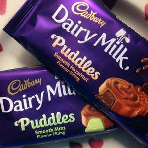 Cadbury Dairy Milk Puddles Chocolate Bar 90g (mint and Hazelnut varieties) was £1.49 now only 49p at Home bargains