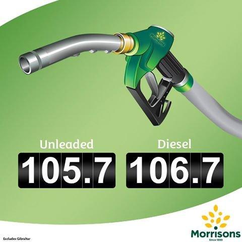 Morrisons Fuel Price Reduction Unleaded 105.7 & Diesel 106.7 Nationwide