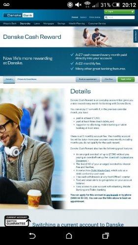 Danske Bank(Branches based in N.I)Cash Reward Account. Earn £60 a year
