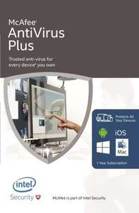 McAfee AntiVirus Plus 2016 Unlimited Devices £11.99 free Click & Collect @ Very