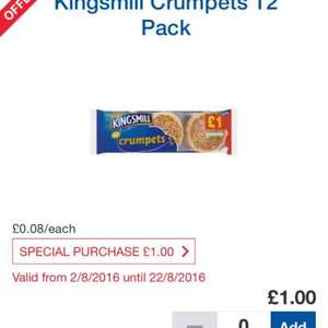 12 kingsmill crumpets £1.00 (Special Purchase) @ Tesco