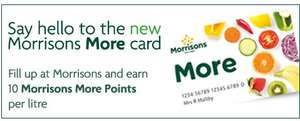 Earn 10 times Morrisons More points per litre when you fill up at Morrisons petrol stations
