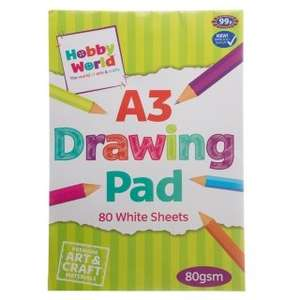 Hobby World A3 Drawing Pad (80 Sheets) was 50p now 10p / Hobby World 15 Colouring Pencils was 99p now 10p @ B&M