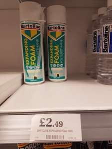 Bartoline expanding foam 500ml. £2.49 home bargains in store Huddersfield