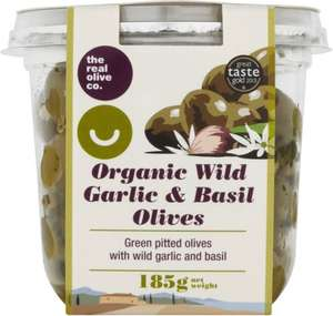 The Real Olive Co. Organic Wild Garlic & Basil Olives (185g) was £2.90 now £1.45 @ Ocado