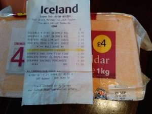 Iceland 1kg Mature Coloured Cheese scanning @ £2.50 (should be £4)
