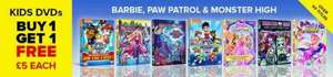 Kids BOGOF DVD's ( Barbie, Paw Patrol, Monster High) £4.50 each @ Zoom works out as £2.25 per DVD
