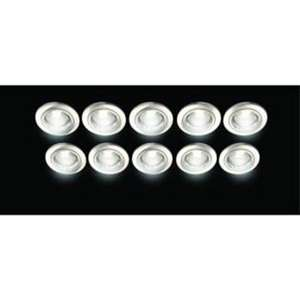 10 PACK WICKES FIXED DOWNLIGHT BRUSHED CHROME & WHITE, GU10 & GU5.3 WITH BULBS £4.99 free c&c @ Wickes