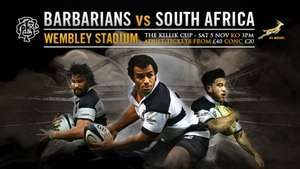 2-for-1 tickets for Barbarians v South Africa on 5 Nov 2016 at Wembley £40 @ Ticketmaster