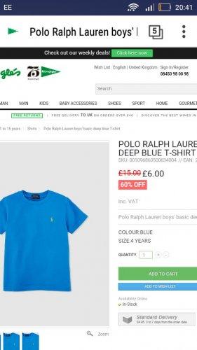 boys blue ralph lauren t-shirt £6 @ El Corte Ingles