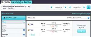 London to Kathmandu, Nepal £313 return Thai airways