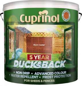 Cuprinol 5 Year Ducksback Forest Oak / Forest Green Shed & Fence Treatment (9L) was £24.00 now £16.00 @ B & Q
