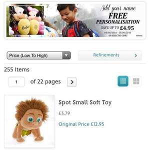 free personalisation at the Disney store (save upto £4.95!) items start from as little as £3.79!!