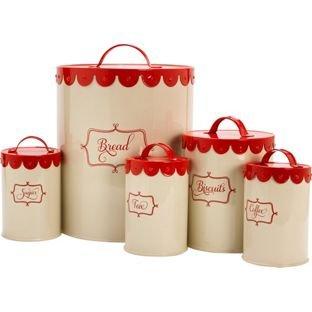 Vintage Cream 5 Piece Round Storage Jars - Red now £4.99 C+C @ Argos (+ More in comments inc ColourMatch 5 Pack Wooden lid Storage Jars was £19.99 now £6.99)