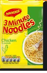 Maggi Noodles 5 Packs for £1 at Tesco and ASDA (20p per pack), Batchelors Super Noodles 2 for 80p at Iceland