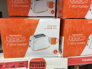 Sainsburys Basic 2 Slice Toaster Reduced To £4 Also Basics Kettle Only £4 Too! @ Sainsbury's