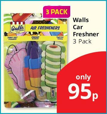 WALLS CAR AIR FRESHENERS, PACK OF 3, 95p Savers