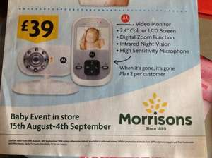 "Motorola 2.4"" VIDEO baby monitor for just £39 in store @ Morrisons during their baby event"
