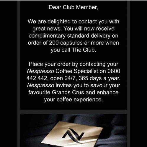 Nespresso free delivery via phone for 200 capsules