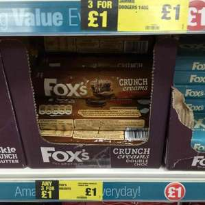 FOX DOUBLE CHOCOLATE / BUTTER CRUNCH / GOLDEN CREAM / GINGER CREAM 168G ALL VARIETIES 3 for £1 AT POUNDLAND