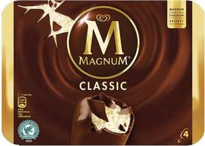 Magnum Classic Ice Cream on a stick / Magnum White Ice Cream on a stick (4 x 110ml) was £3.35 then £1.67 now £1.25 for 7 days @ Iceland