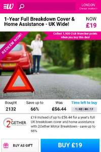 1-Year Full Breakdown Cover & Home Assistance - UK Wide! for just £19 on Wowcher / 2gether
