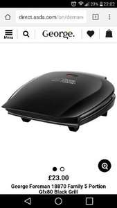 George Foreman 18870 Family 5 portion grill £23 in Asda