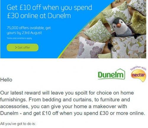 British Gas reward: Get £10 off when you spend £30 at Dunelm (invite only)