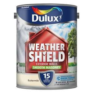 Dulux Weathershield Smooth Masonry Buttermilk Paint (5L) ONLY £20.00 @ B&M