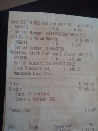 Vodafone Smart Platinum 7 (£135) excluding PAYG £10 sim. £145 Instore @ Bath