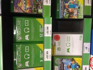 Xbox live gold 12 months £32.99 instore sainsburys