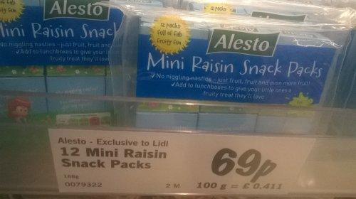 Alesto 12 Mini Raisin Snack Pack, 168g, exclusive to Lidl, 69p, at Lidl