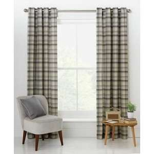 Printed Check Unlined Eyelet Curtains 117 x 137cm - Natural £3.99 @ Argos