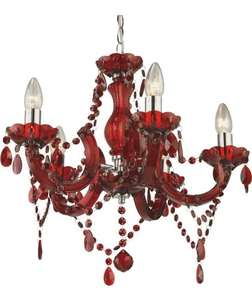 Half Price Inspire Chandelier 5 Light Ceiling Fitting - Ruby Red £19.99 @ Argos