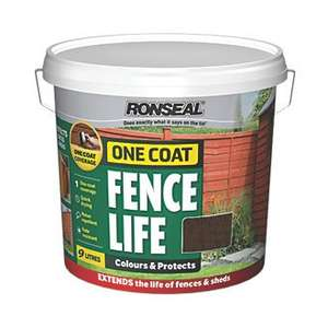 Ronseal One Coat Fence Life 9LTR (FREE CC) £6.99 @ Screwfix