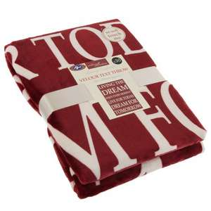Velour Text Throw 120 x 170cm [red/grey] 10p @ B&M