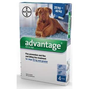 Advantage 400 for Dogs 25kg plus (4 x 4.0ml pipettes)  £8.25 delivered  pet supermarket