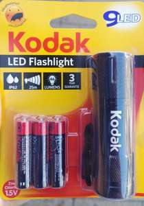 Kodak 9 LED Weatherproof Torch + Batteries £1 @ Poundland