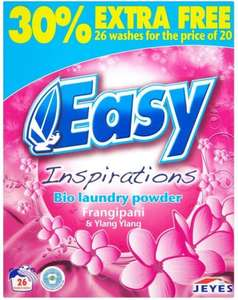 Easy Inspirations Bio Laundry Powder Frangipani & Ylang Ylang (30% Extra Free 26 Washes = 2.03Kg) ONLY £2.00 (7.7p / Wash) ONLY £2.00 @ Iceland