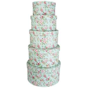 Rose Print Round Storage Suitcases - £5 for Set Of 5 @ theworks
