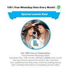Free WhatsApp Usage and Free SIM with 100 MIN / 100 SMS / 200MB Data @ FreedomPop