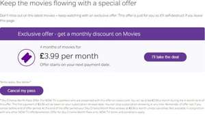 NowTv Movie Pass 1 month free + 4 months @ 3.99 per month (selected customers while cancelling)