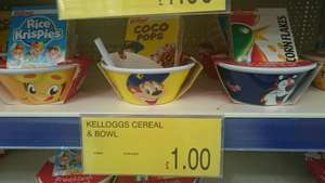 Kellogs Cereal and Bowl £1 each @ B&M