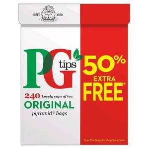 PG tips 160s + 50% Free Pyramid Teabags (696g) was £4.69 now £3.50 at Iceland