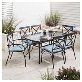 Glass 7 Piece Garden Table Set - Reduced further with code £115 @ Tesco direct