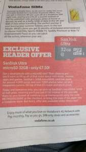 SanDisk Ultra MicroSD 32Gb half price, online and instore - £7.50 @ Vodafone
