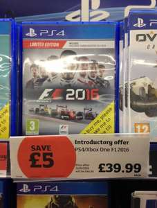 F1 2016 PS4 & Xbox One £39.99 in-store @ Sainsbury's