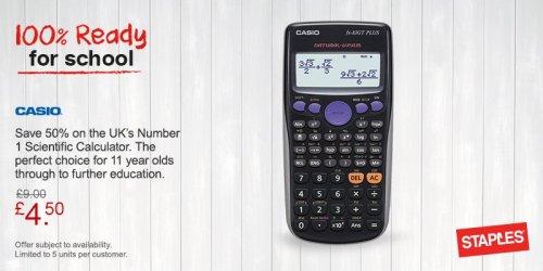 Casio FX-83GT PLUS Scientific Calculator £4.50 at Staples - Free c&c