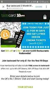 Tastecard 90 days for £1 and 2 FREE cinema tickets