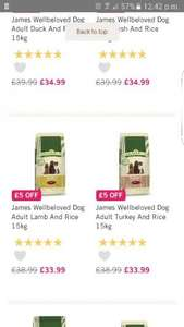 James wellbeloved dog range Fetch  £5 off next day delivery